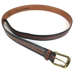 Johnston & Murphy Back and Brown Leather Belt